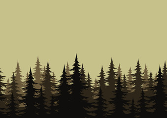 Seamless landscape, forest, silhouettes