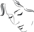 Silhouette calm face of a young woman