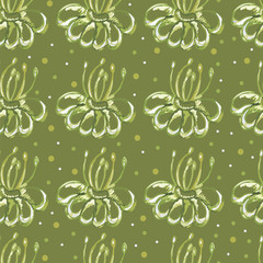 seamless green background. floral ornament.