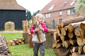 Holz stapeln auf dem Bauernhof