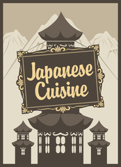 banner for a Japanese restaurant and pagodas