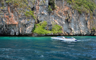 Motor boats on ocean of Phang Nga National Park
