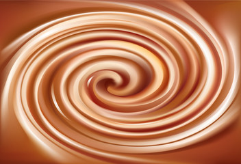 Vector background of swirling creamy caramel texture
