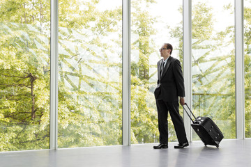 businessman in black formal wear holding trolley bag