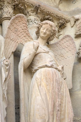 Smiling angel. Notre-Dame de Reims Cathedral. Reims, France