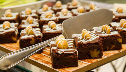 Brownie dessert on a tray