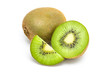 Kiwi fruit and his sliced segments isolated on white background