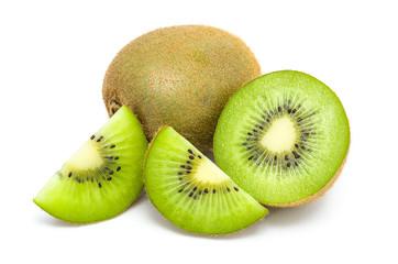 Kiwi fruit and his sliced segments isolated on white background
