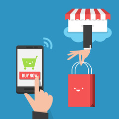 mobile shopping flat design