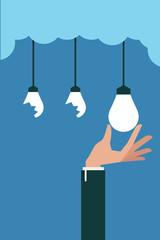 Hand pick idea bulb