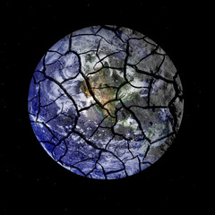 Fragile Planet Earth Cracking Apart in Outer Space