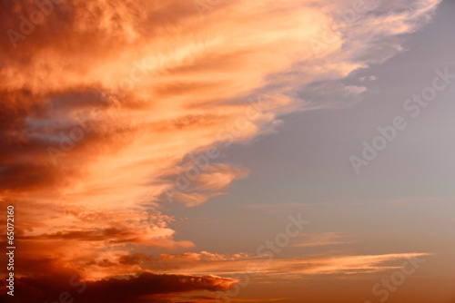 Dramatic sky with beautiful sunset