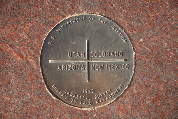Marker at Four Corners Monument - USA
