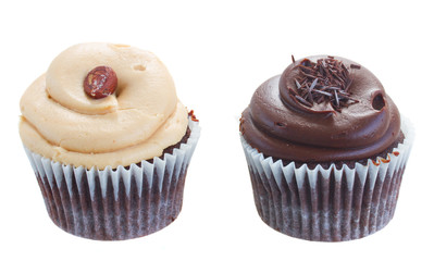 two cupcakes chocolate and nut