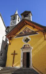Fusio, Kirche, Dorfkirche, Dorf, Herbst, Tessin, Schweiz