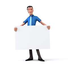 Businessman holding white board