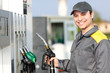 Smiling gas station worker