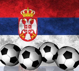 Footballs on top of flag - Serbia
