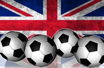Footballs on top of flag - United Kingdom