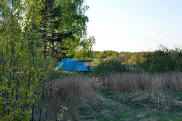 Camping tent in the woods.