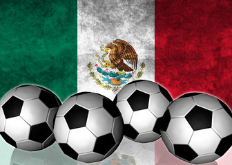 Footballs on top of flag - Mexico