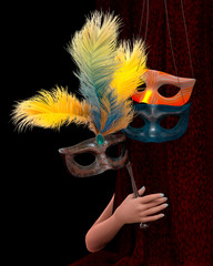 young woman hand with curtain and carnival mask