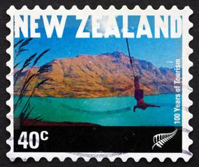 Postage stamp New Zealand 2001 Bungee Jumper, Queenstown