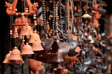 Pottery and different ceramic handicrafts in the market