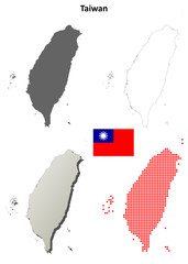 Taiwan blank outline map set