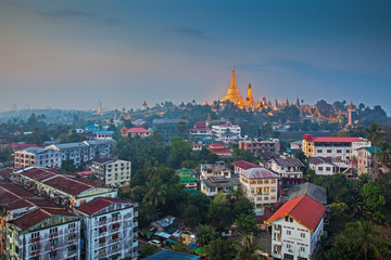View at dawn of the Shwedagon Pagoda, Yangoon, Myanmar