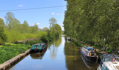 Moored Narrowboats on an English Canal
