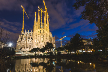 Sagrada Familia in Barcelona at Night