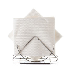 table napkin holder with napkin, isolated on white