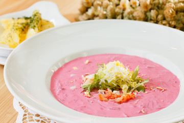 cold beetroot soup with potatoes