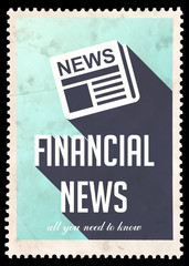 Financial News on Blue in Flat Design.
