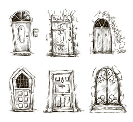 set of doodle doors sketch, hand drawn, vector