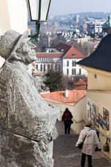 The monument  with cityscape prague view