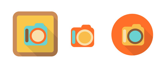 three colorful icons in flat style - camera
