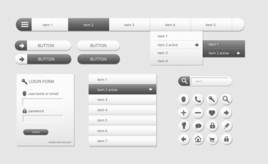 modern black and white web ui elements