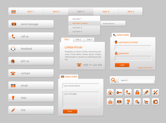 modern gray web ui elements with orange icons