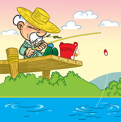 Elderly man fishing