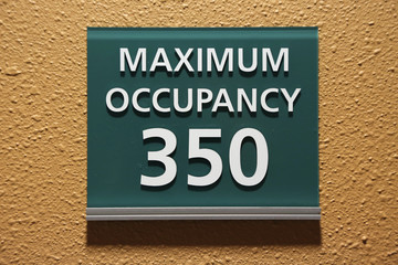 Maximum occupancy 350 sign