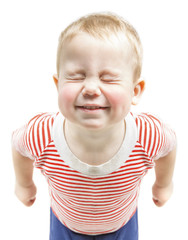Child boy funny smiling and narrow closed eyes, happy baby dream