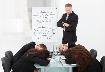 Businessman Looking At Colleagues Sleeping During Presentation