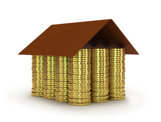 Conceptual house made from coins. 3d render illustration