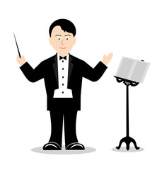 drawing cheerful conductor