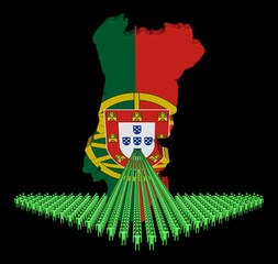 Arrow of people with Portugal map flag illustration
