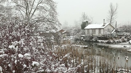 Finn Slough, Winter Snow, Richmond