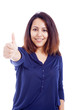 Happy young woman showing thumb up sign, isolated on white backg