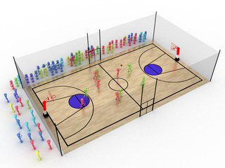 Basketball court with a protective grid №1
